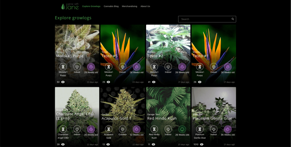 Screenshot of Grow with Jane's Explore Growlog website section showing two rows of anonymized growlogs.